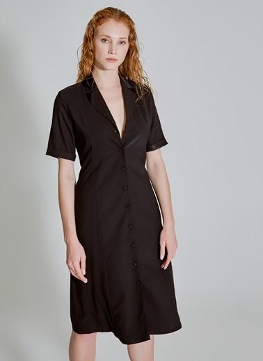 People By Fabrika Cep Detaylı Gömlek Elbise Siyah